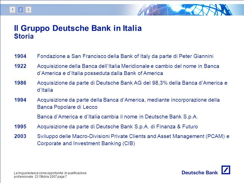 Il Gruppo Deutsche Bank in Italia Storia
