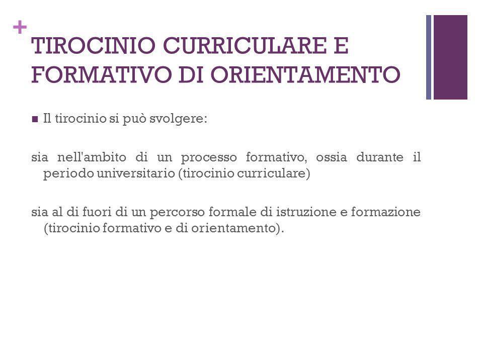 TIROCINIO CURRICULARE E FORMATIVO DI ORIENTAMENTO