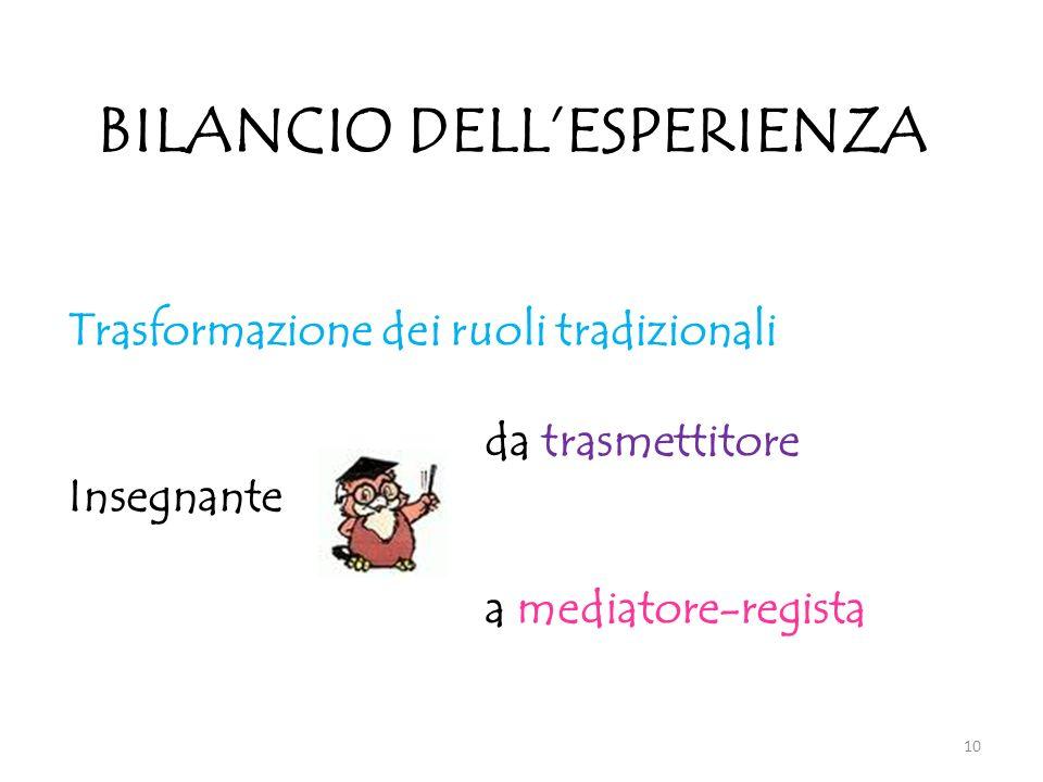 BILANCIO DELL'ESPERIENZA