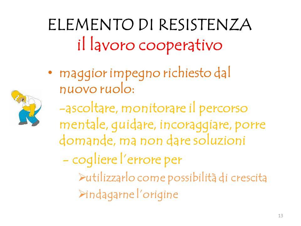 ELEMENTO DI RESISTENZA il lavoro cooperativo