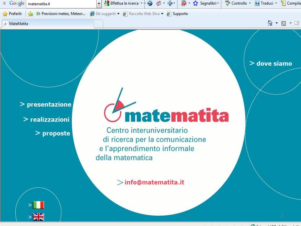 LA PROPOSTA DIDATTICA, destinata alla scuola primaria e secondaria di 1° grado, parte dal centro matematita (Unità Città Studi-Milano)