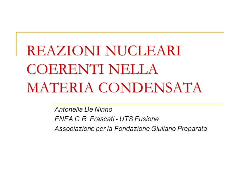 REAZIONI NUCLEARI COERENTI NELLA MATERIA CONDENSATA