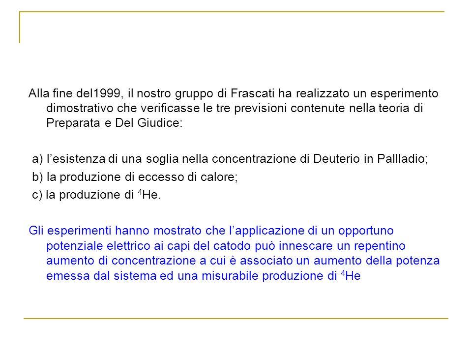 Alla fine del1999, il nostro gruppo di Frascati ha realizzato un esperimento dimostrativo che verificasse le tre previsioni contenute nella teoria di Preparata e Del Giudice: