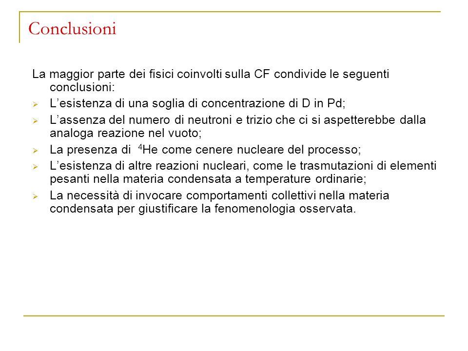 Conclusioni La maggior parte dei fisici coinvolti sulla CF condivide le seguenti conclusioni: