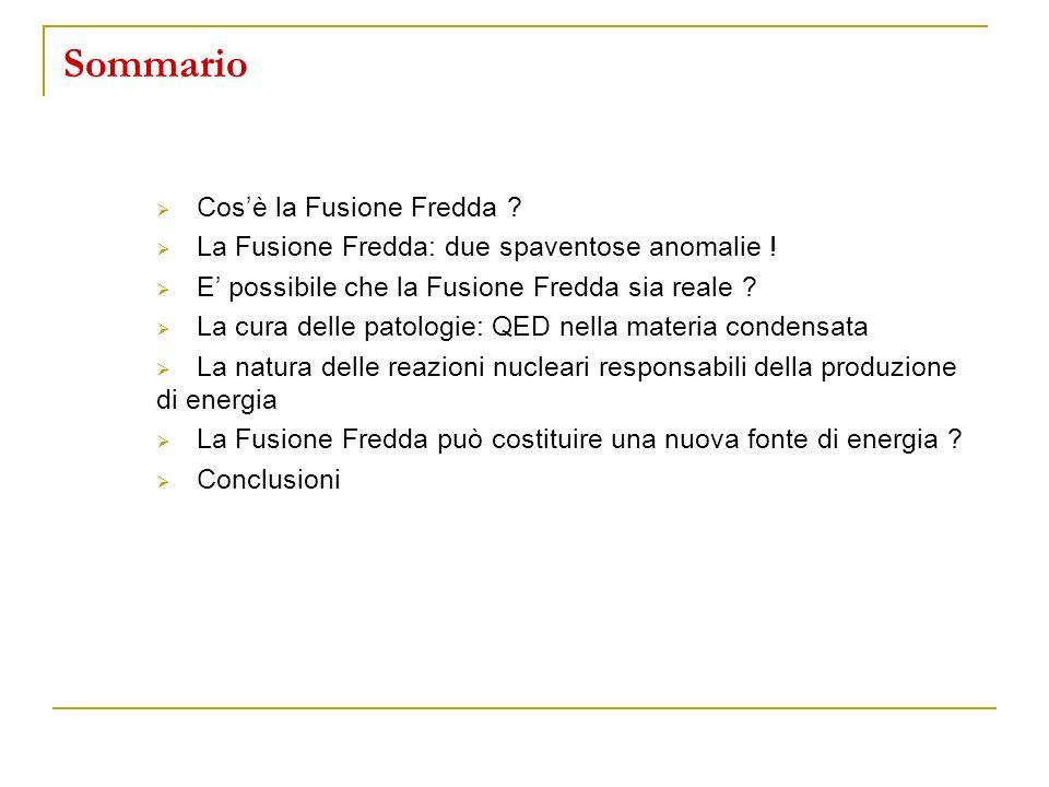 Sommario Cos'è la Fusione Fredda