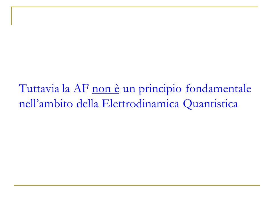 Tuttavia la AF non è un principio fondamentale nell'ambito della Elettrodinamica Quantistica