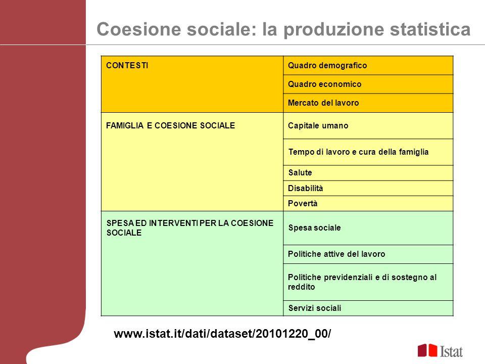 Coesione sociale: la produzione statistica