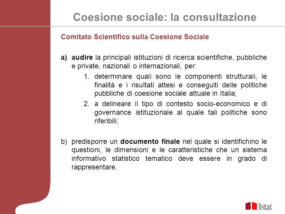 Coesione sociale: la consultazione