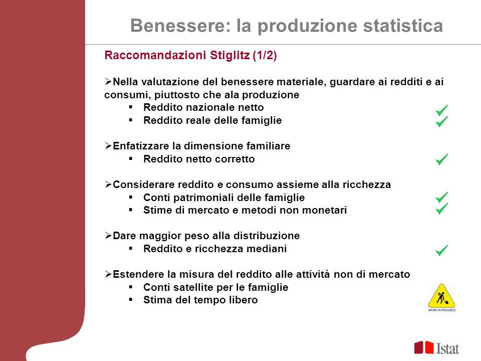 Benessere: la produzione statistica