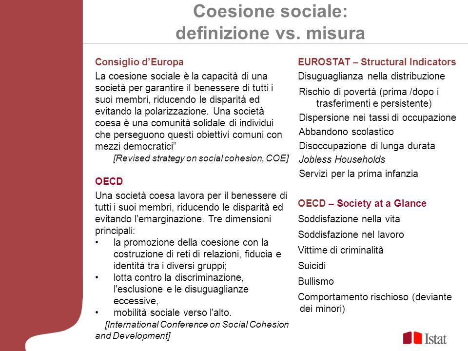 Coesione sociale: definizione vs. misura