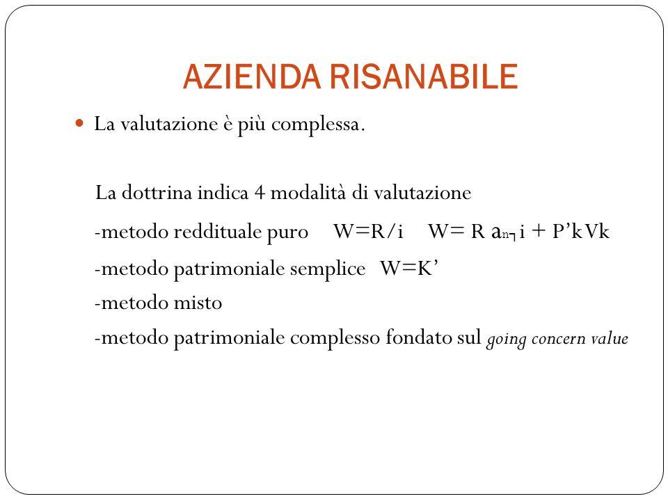 AZIENDA RISANABILE La valutazione è più complessa.
