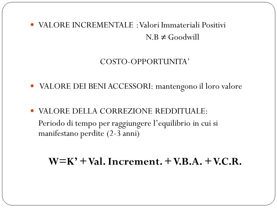 W=K' + Val. Increment. + V.B.A. + V.C.R.