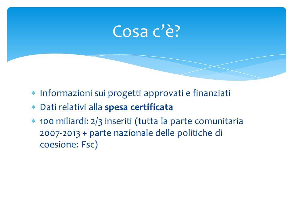 Cosa c'è Informazioni sui progetti approvati e finanziati