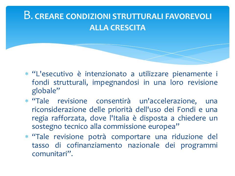 B. CREARE CONDIZIONI STRUTTURALI FAVOREVOLI ALLA CRESCITA