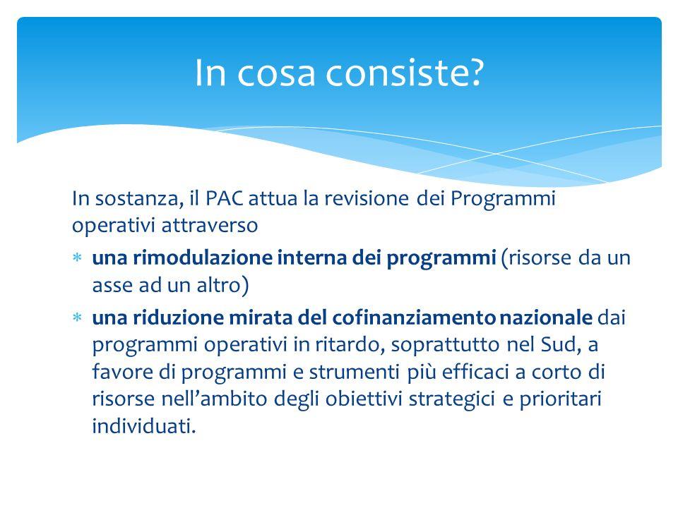 In cosa consiste In sostanza, il PAC attua la revisione dei Programmi operativi attraverso.