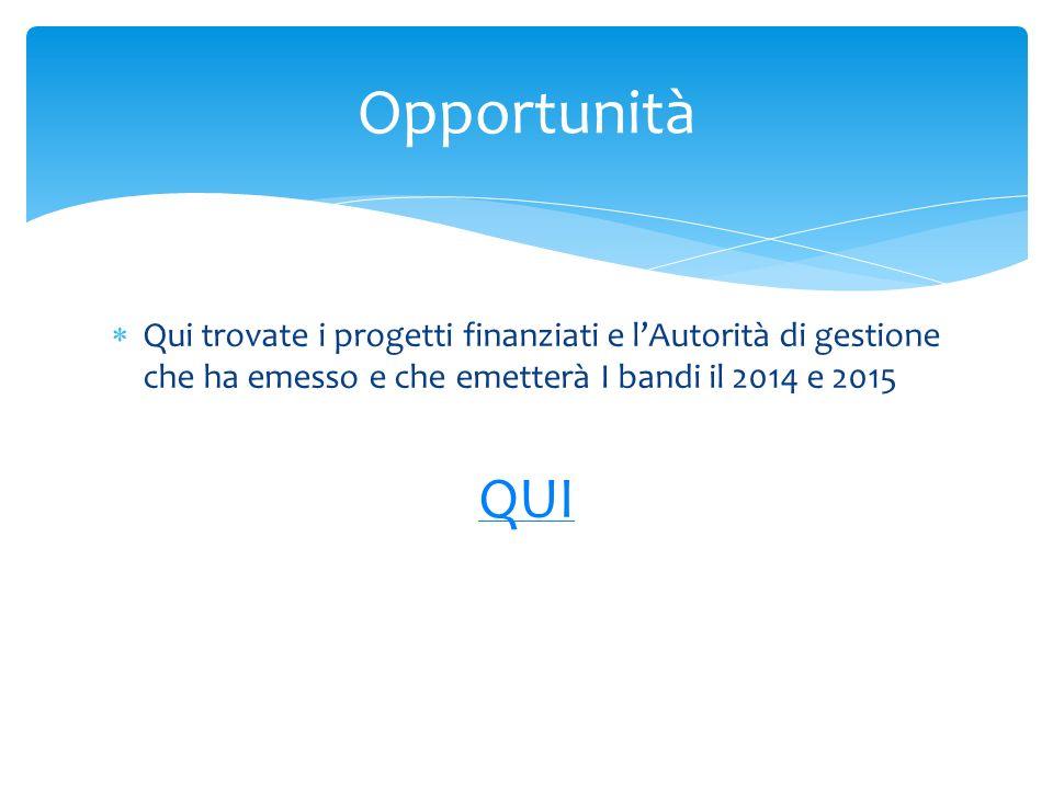 Opportunità Qui trovate i progetti finanziati e l'Autorità di gestione che ha emesso e che emetterà I bandi il 2014 e 2015.