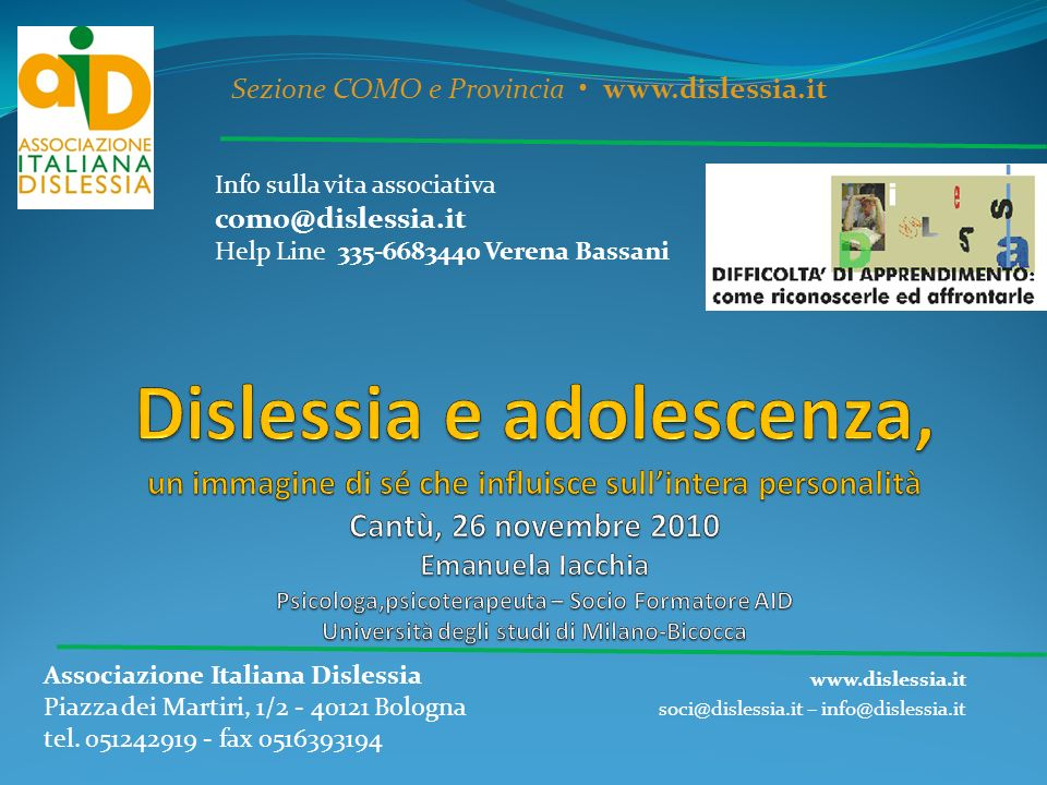 www.dislessia.it soci@dislessia.it – info@dislessia.it