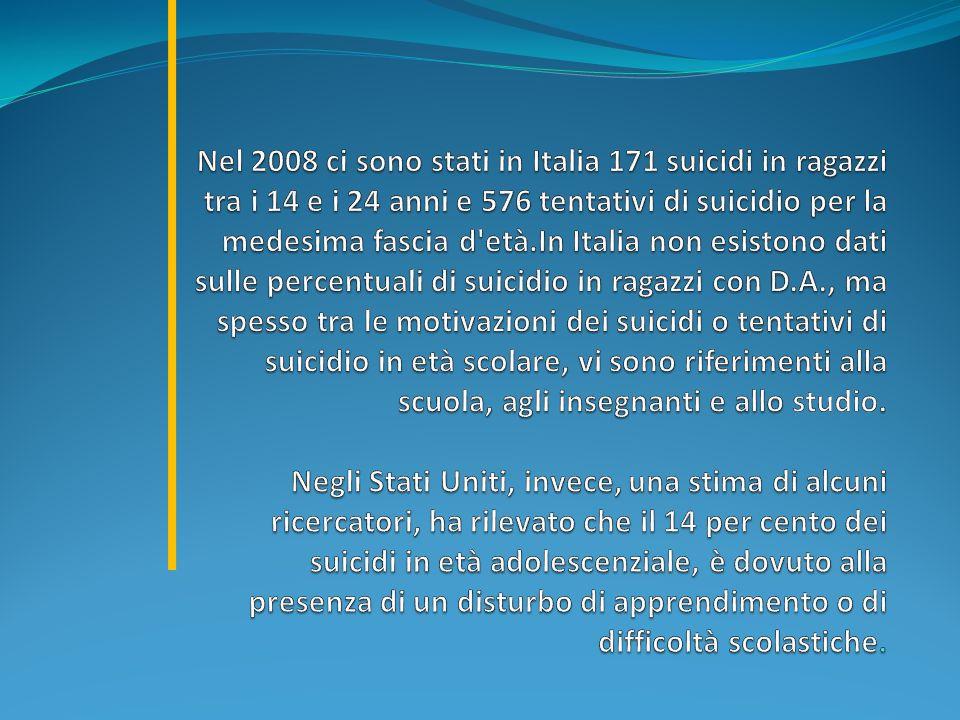Nel 2008 ci sono stati in Italia 171 suicidi in ragazzi tra i 14 e i 24 anni e 576 tentativi di suicidio per la medesima fascia d età.In Italia non esistono dati sulle percentuali di suicidio in ragazzi con D.A., ma spesso tra le motivazioni dei suicidi o tentativi di suicidio in età scolare, vi sono riferimenti alla scuola, agli insegnanti e allo studio.