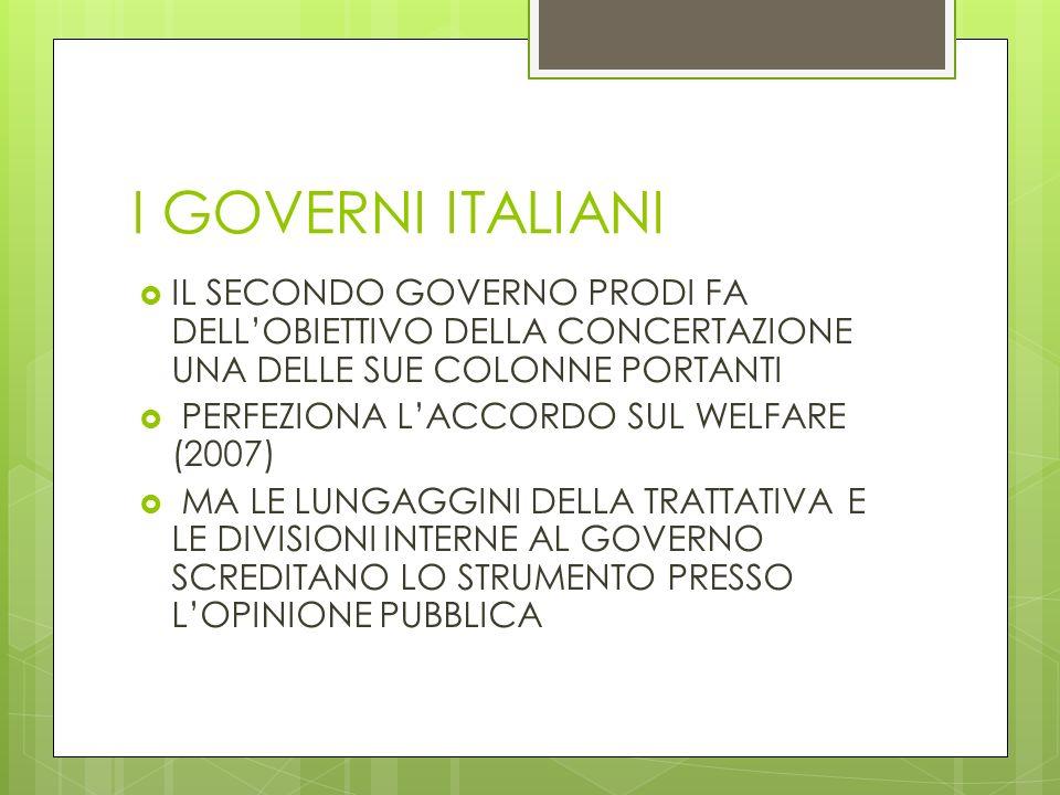 I GOVERNI ITALIANI IL SECONDO GOVERNO PRODI FA DELL'OBIETTIVO DELLA CONCERTAZIONE UNA DELLE SUE COLONNE PORTANTI.
