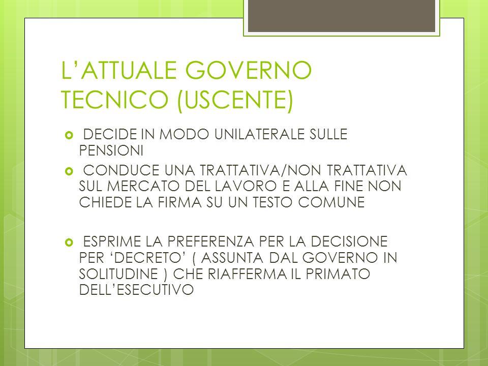 L'ATTUALE GOVERNO TECNICO (USCENTE)