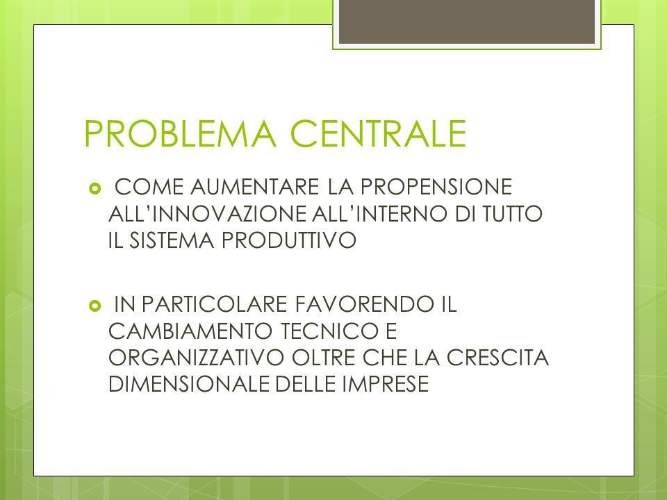 PROBLEMA CENTRALE COME AUMENTARE LA PROPENSIONE ALL'INNOVAZIONE ALL'INTERNO DI TUTTO IL SISTEMA PRODUTTIVO.