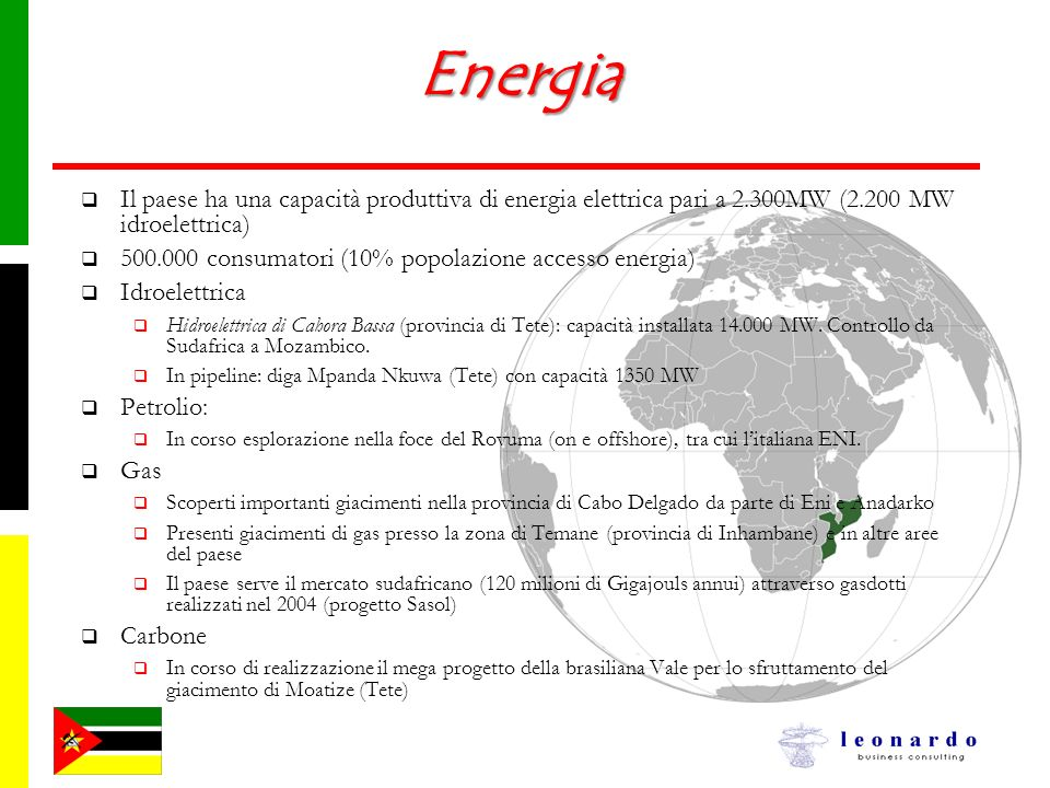 Energia Il paese ha una capacità produttiva di energia elettrica pari a 2.300MW (2.200 MW idroelettrica)