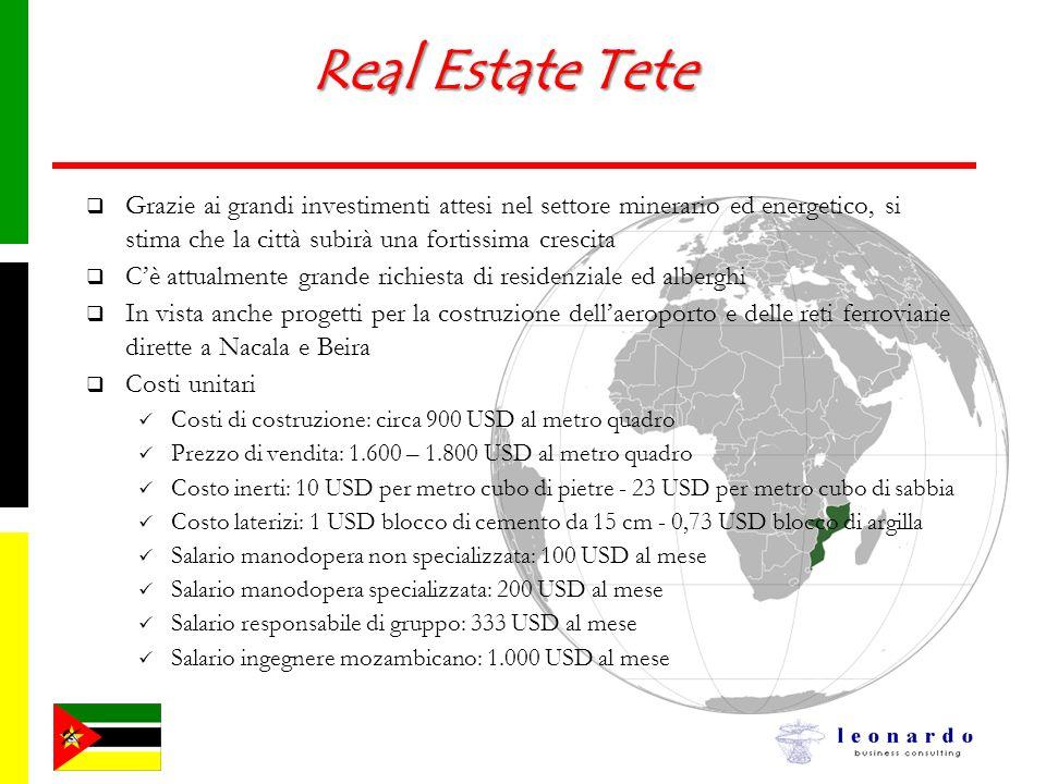 Real Estate Tete Grazie ai grandi investimenti attesi nel settore minerario ed energetico, si stima che la città subirà una fortissima crescita.