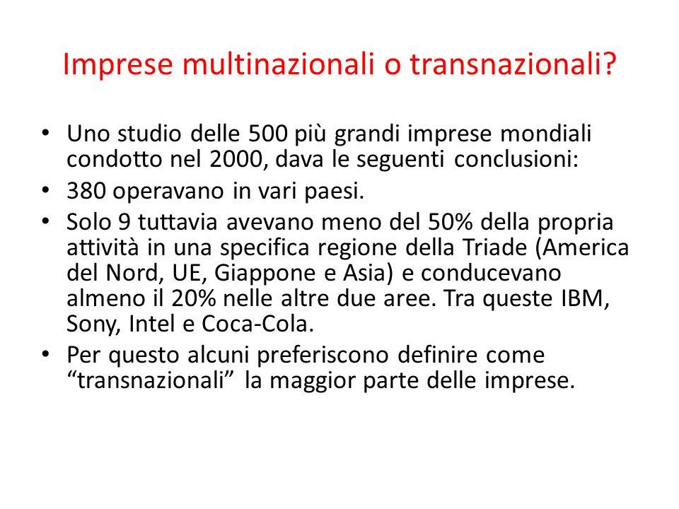 Imprese multinazionali o transnazionali