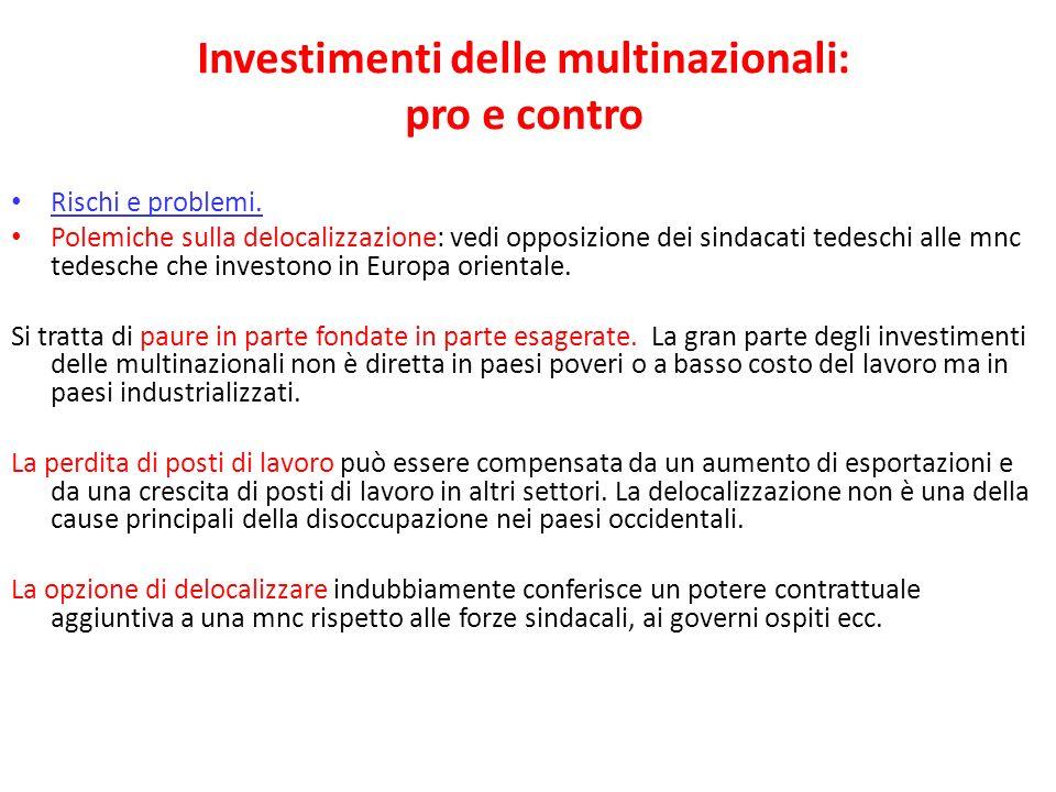 Investimenti delle multinazionali: pro e contro