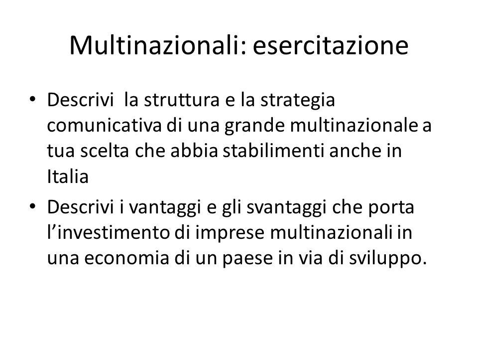 Multinazionali: esercitazione