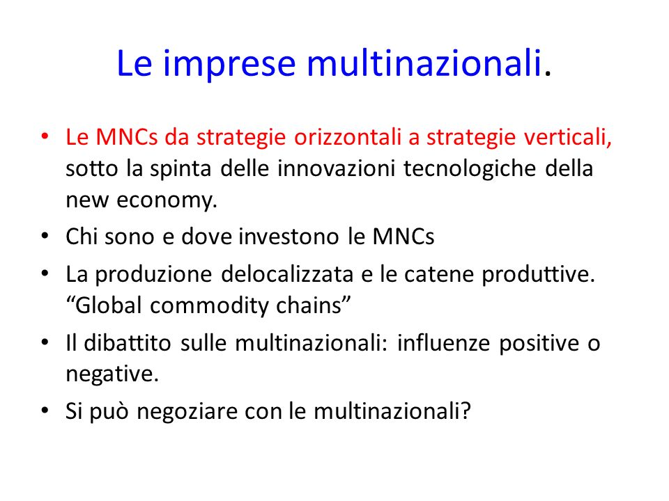 Le imprese multinazionali.