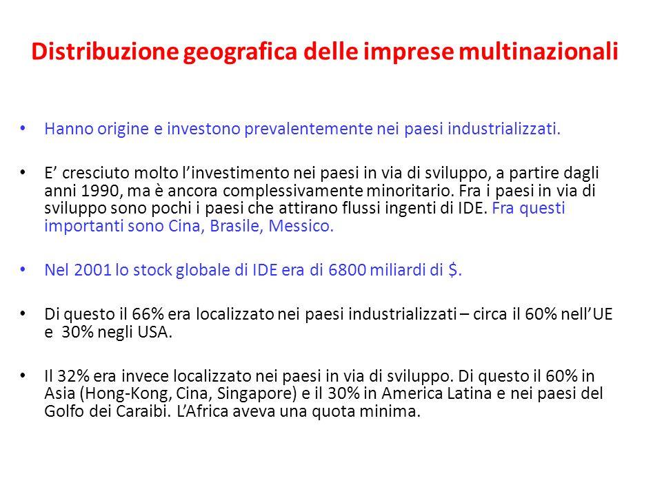 Distribuzione geografica delle imprese multinazionali