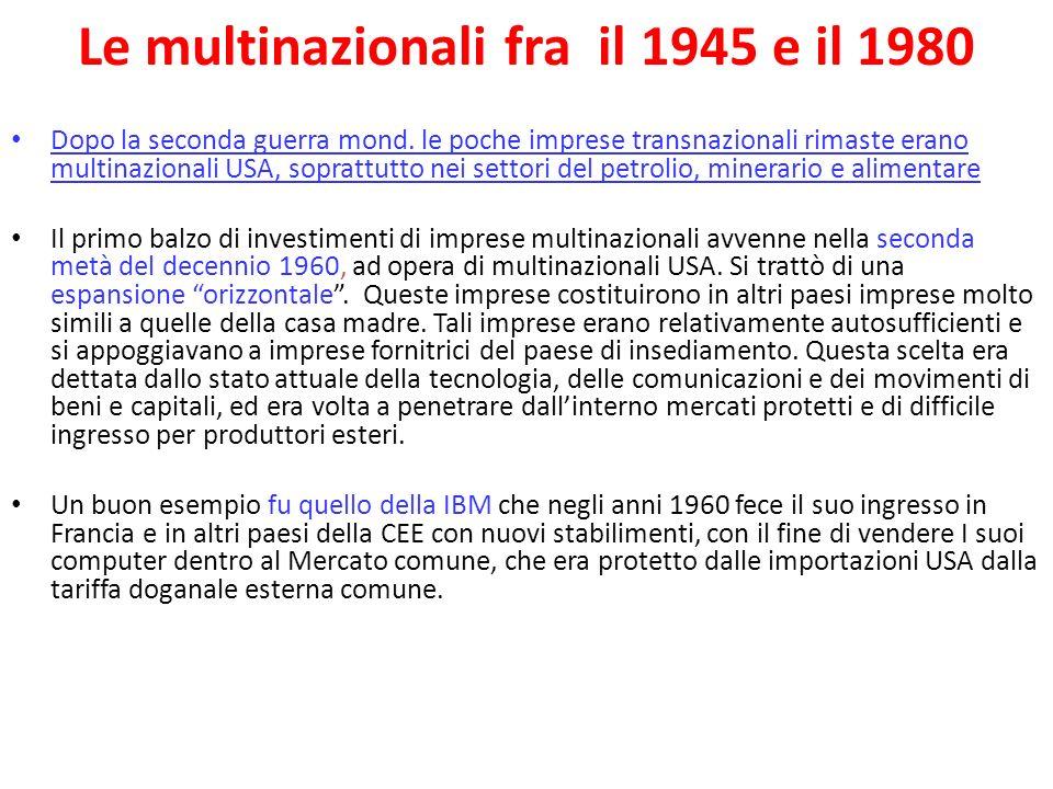 Le multinazionali fra il 1945 e il 1980