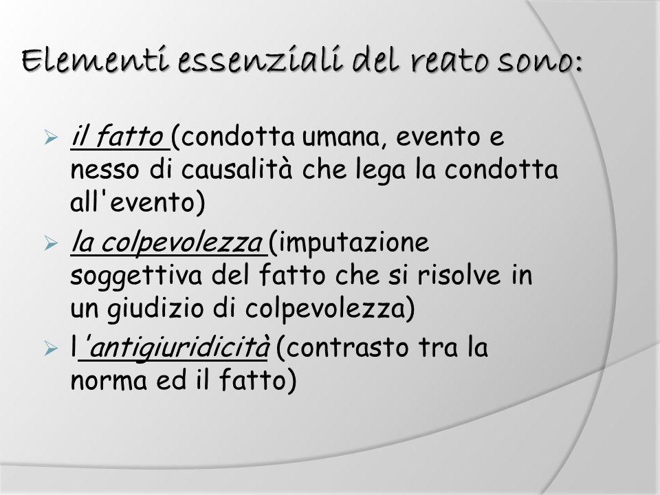 Elementi essenziali del reato sono: