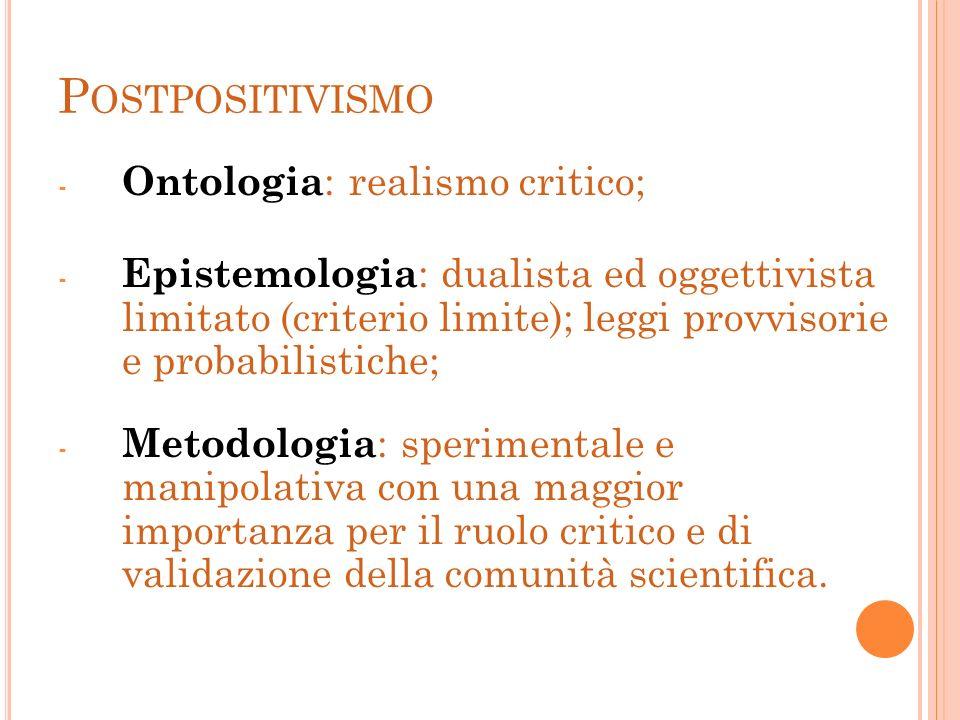 Postpositivismo Ontologia: realismo critico;