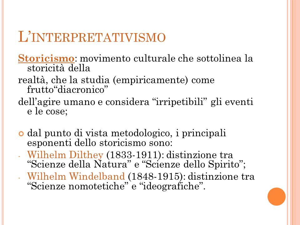 L'interpretativismoStoricismo: movimento culturale che sottolinea la storicità della.