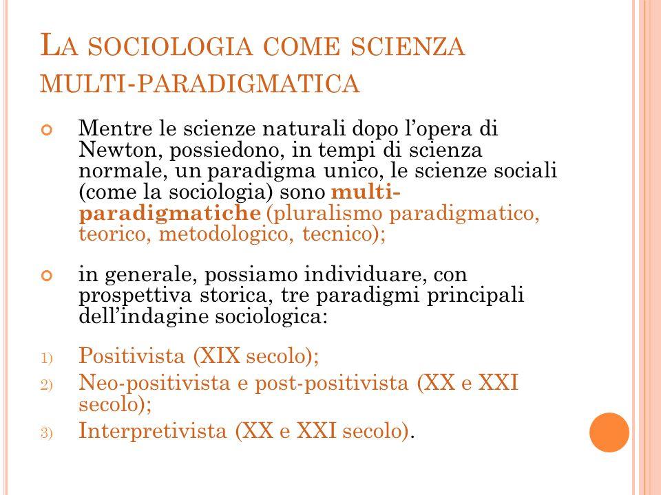 La sociologia come scienza multi-paradigmatica