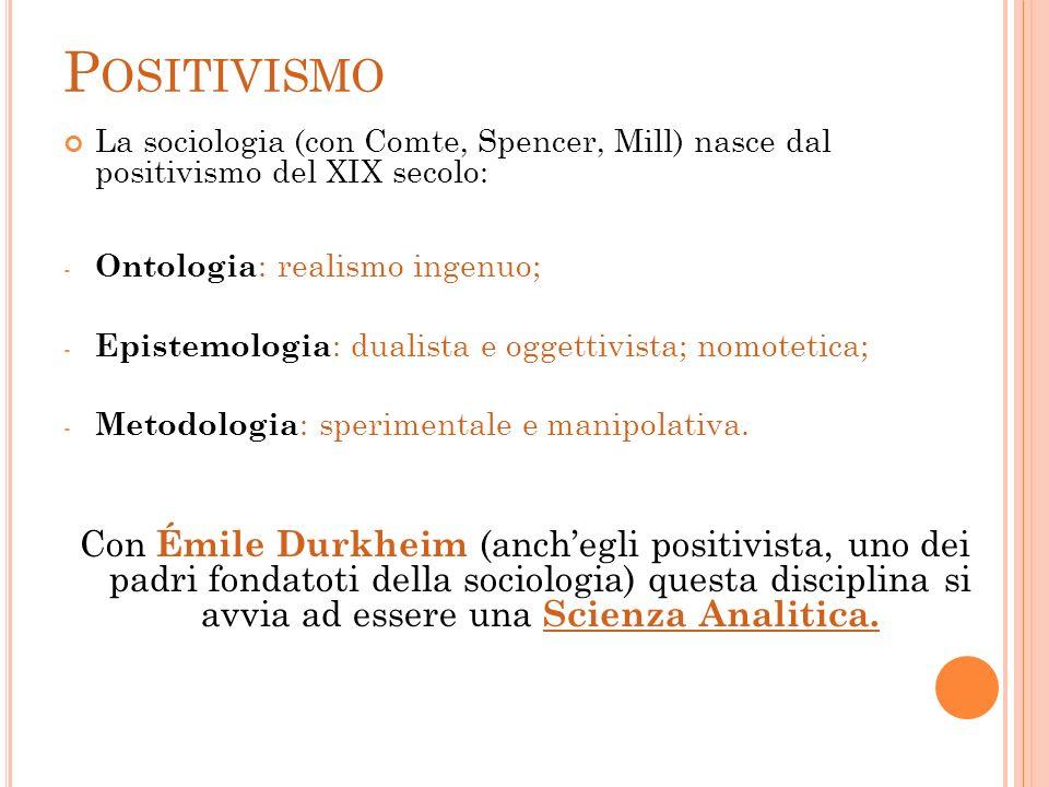 PositivismoLa sociologia (con Comte, Spencer, Mill) nasce dal positivismo del XIX secolo: Ontologia: realismo ingenuo;
