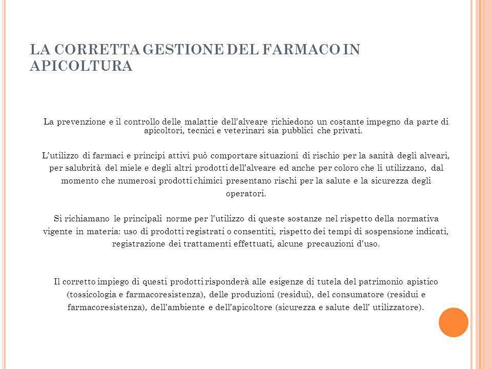 LA CORRETTA GESTIONE DEL FARMACO IN APICOLTURA