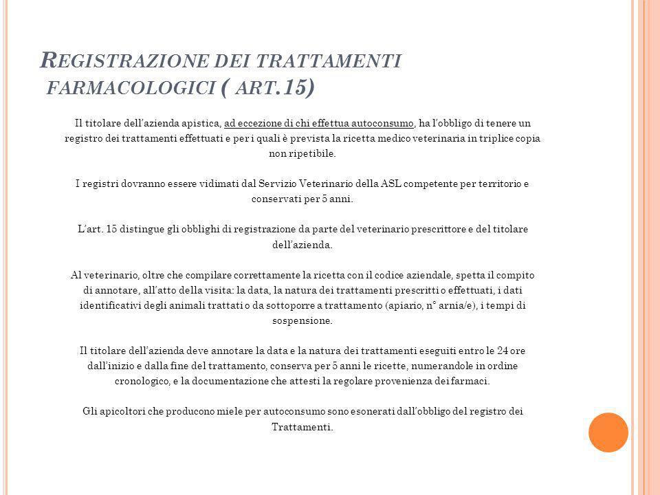 Registrazione dei trattamenti farmacologici ( art.15)