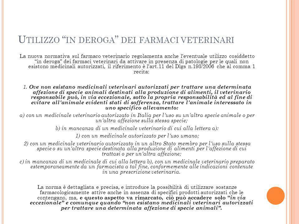 Utilizzo in deroga dei farmaci veterinari