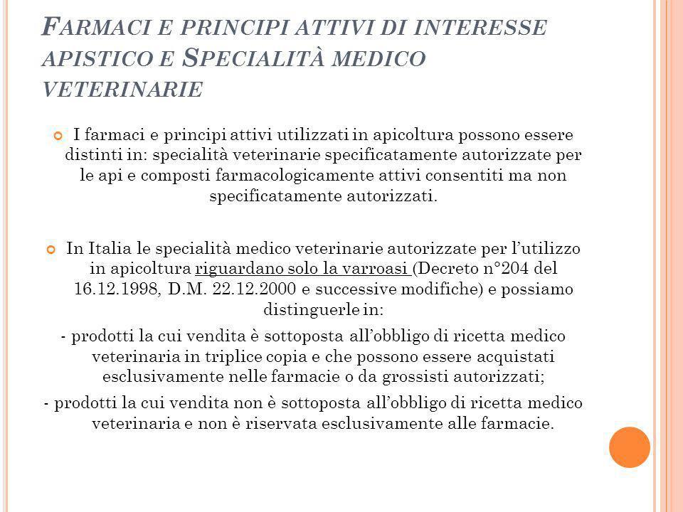 Farmaci e principi attivi di interesse apistico e Specialità medico veterinarie