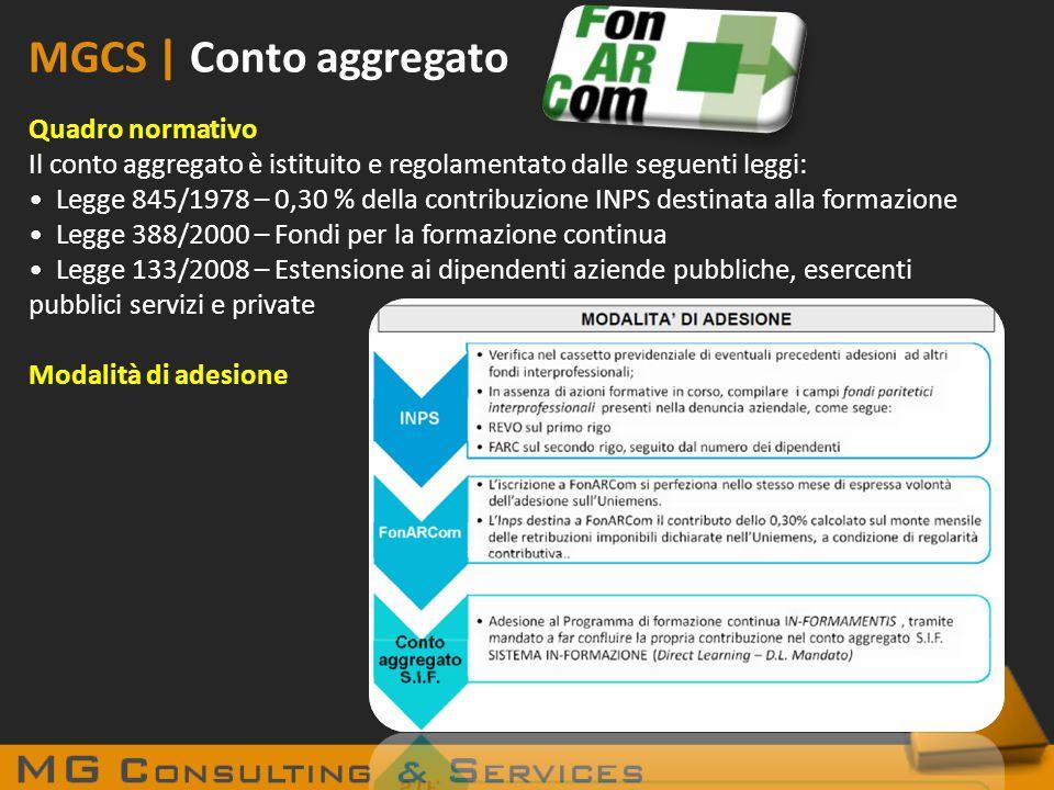 MGCS | Conto aggregato Quadro normativo
