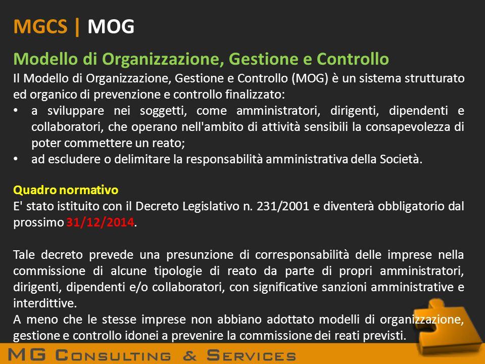 MGCS | MOG Modello di Organizzazione, Gestione e Controllo
