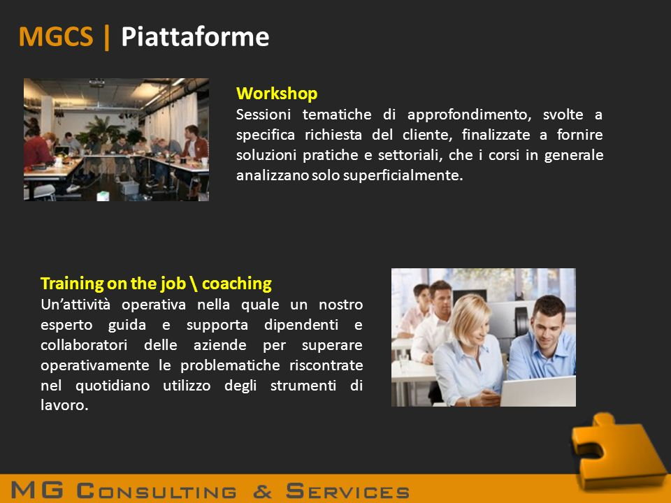 MGCS | Piattaforme Workshop Training on the job \ coaching