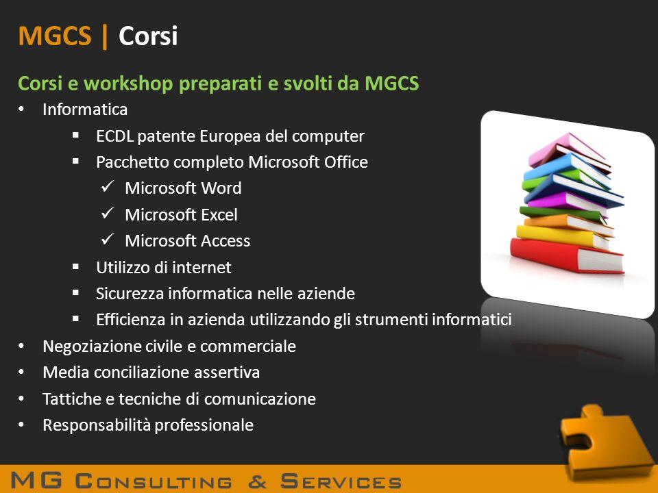 MGCS | Corsi Corsi e workshop preparati e svolti da MGCS Informatica