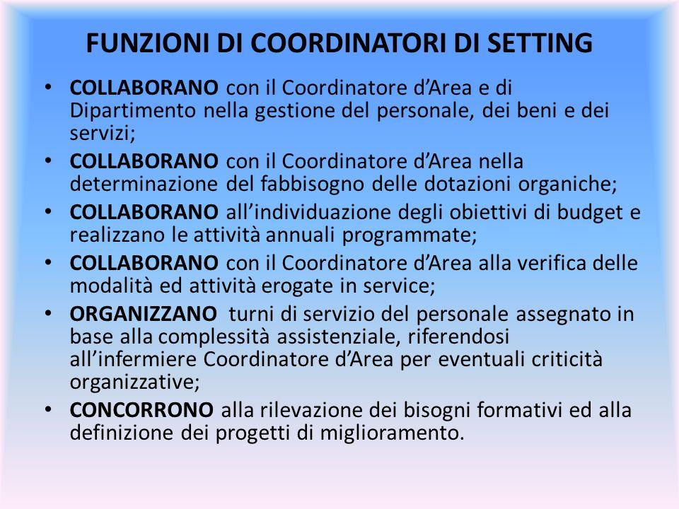 FUNZIONI DI COORDINATORI DI SETTING