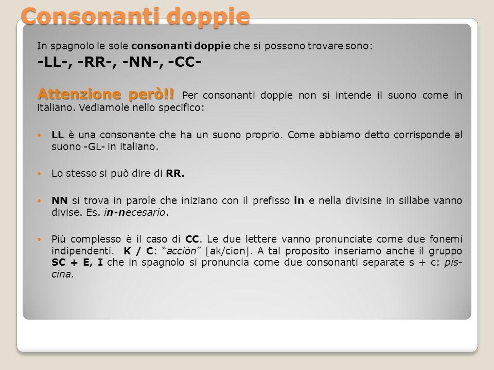Consonanti doppie -LL-, -RR-, -NN-, -CC-