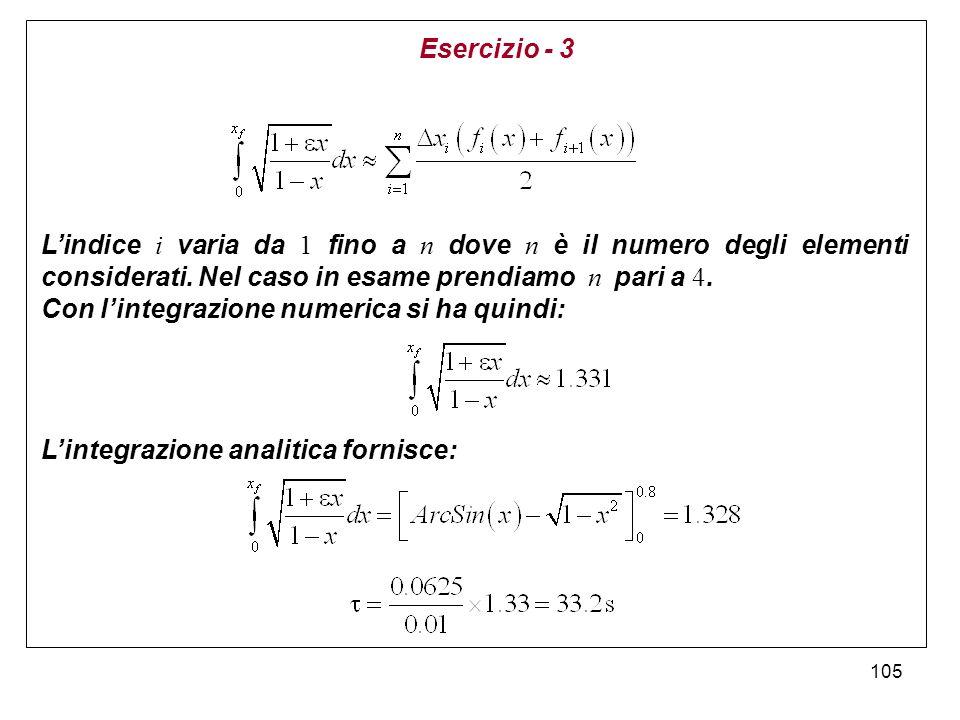 Esercizio - 3 L'indice i varia da 1 fino a n dove n è il numero degli elementi considerati. Nel caso in esame prendiamo n pari a 4.