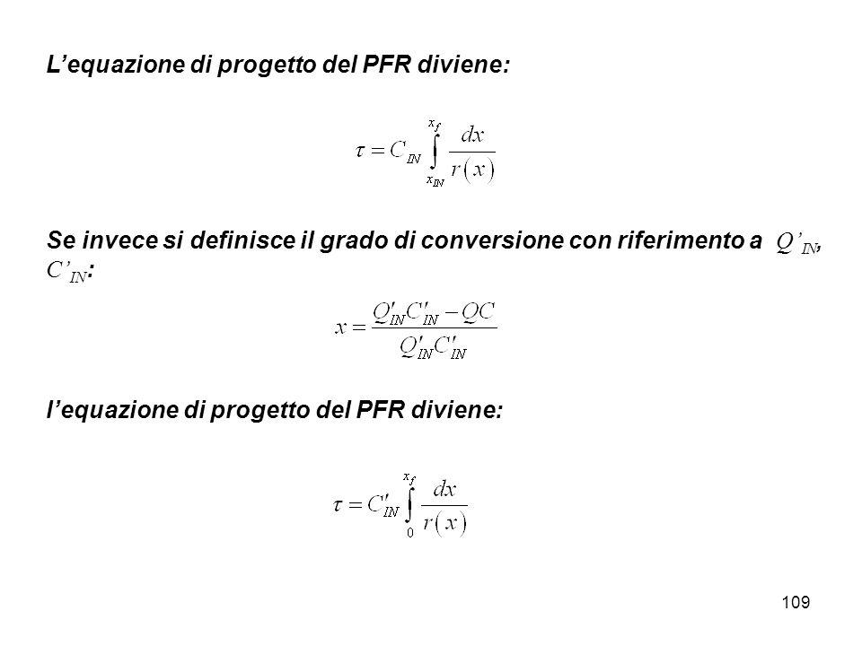 L'equazione di progetto del PFR diviene: